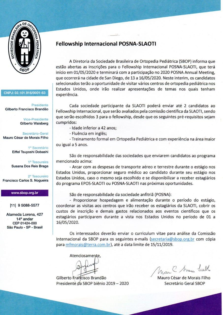 Fellowship Internacional POSNA-SLAOTI