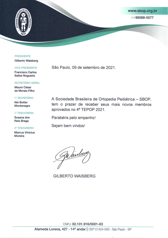 Boas Vindas Dr. Gilberto Waisberg - 4º TETOP